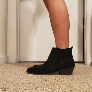 Black low heeled ankle boots